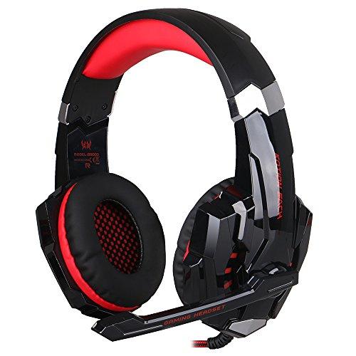 EasySMX Micro Casque PS4 Gaming, Audio Stéréo Basse avec LED Lampe Luminosité, bien Anti-Bruit, Casque Contrôleur Sur-Ligne pratique, Compatible pour PS4, PC, Laptop, Tablette, et Tous les Smartphone (Noir+Rouge)