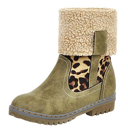 BaZhaHei Damen Stiefeletten Mode Elegante Stiefel Herbst Winter Warme Stiefel Winterstiefel gefütterte Schneestiefel Winterschuhe Farbe Flat Bottom Boots Schneeschuhe