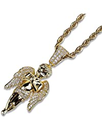 MCSAYS Hip Hop Jewelry Bling Zirconia Angels Pray Pendant Gold Plated Iced  Out Necklace Fashion Accessories 31853ff526f6