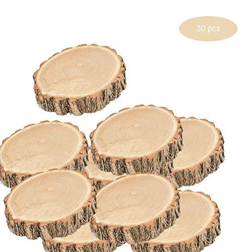 inherited Rodajas de Madera,30 Piezas adorno madera 6-7cm adorno mesa redondas discos Para Boda Manualidades DIY Navidad Decoración hawaiana adornos rusticos,Madera sin acabado
