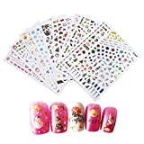 10 Feuilles 3D Nail Art Sticker, SenPuSi De noel Autocollants pour Décorations D'Ongles Nail Stickers Mixte Conceptions Ongles Stencil Accessories