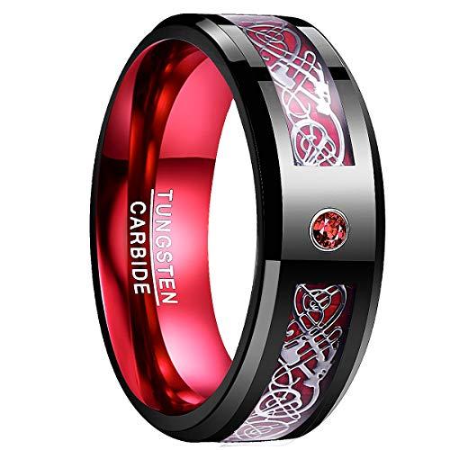 NUNCAD Ring Damen mit keltischer Gravur schwarz-rot, Unisex Ring mit Zirkon und Kohlefasern für Hochzeit, Freundschaft, Trauung, Partnerschaft, Fashion, Alltag, Größe 72 (32)