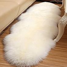 Alfombra de piel de oveja sintética, piel sintética decorativa para el dormitorio / sofá / silla / ventana, alfombra antideslizante de la alfombra de las lanas de lujo hechas a mano (70 * 95CM, Amarillo claro)