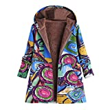 OIKAY Plus Größe Damen Mit Kapuze Langarm Baumwolle Leinen Flauschigen Pelz Reißverschluss Outwear Mäntel(S4-Blau/EU-44/3XL