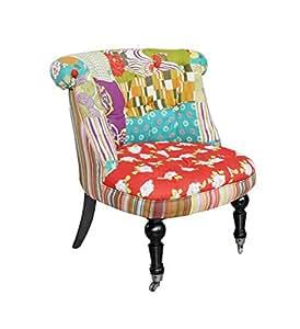Poltroncina patchwork design vintage in tessuto misto lino - Poltroncine da cucina ...