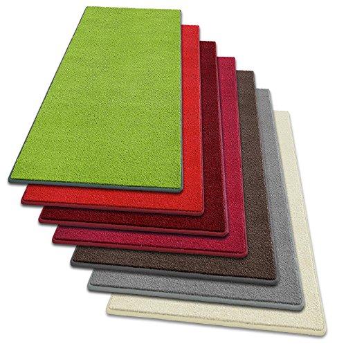 Teppich Läufer Noblesse | flauschig getufteter Flor in modernen Farben | mit GUT-Siegel | Teppichläufer in vielen Farben für Flur, Schlafzimmer, Wohnzimmer etc. | viele Breiten und Längen (100 x 200cm, rot)