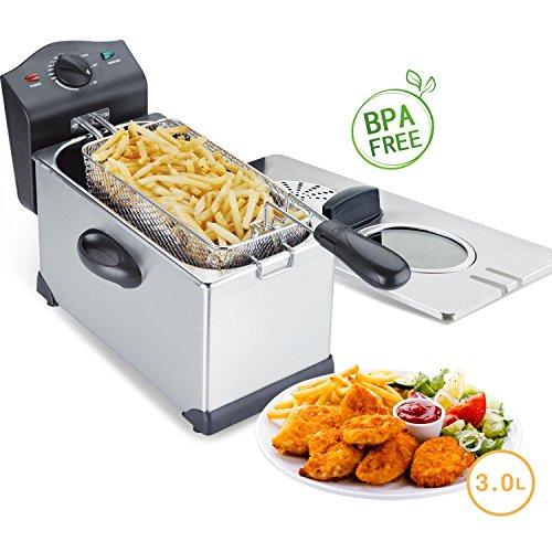 Aigostar Ushas Semi-professionelle Fritteuse, Edelstahl, 2200 Watt, 3 Liter. Garantie und Qualität. BPA-frei