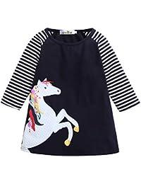 Mädchen Sommerkleid Kinder Kleid Kleider Tunika Shirt Pferd Pferde Neu