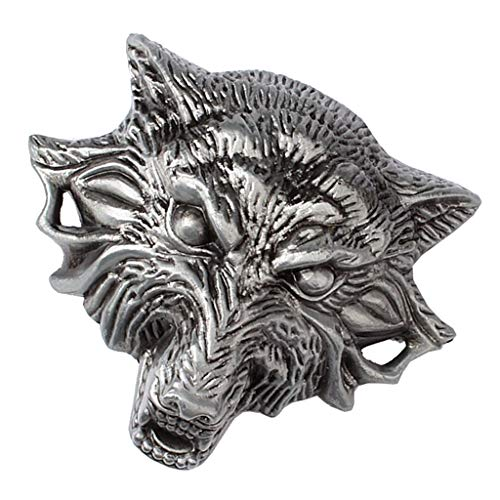 sharprepublic Metall Gürtelschnalle 3D Wolf Kopf für Wechselgürtel Western Cowboy Cowgirl Schmuck (Cowgirl-schmuck)