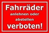 Melis Folienwerkstatt Schild - Fahrräder abstellen - 15x10cm | Bohrlöcher | 3mm Aluverbund – S00050-046-D -20 Varianten