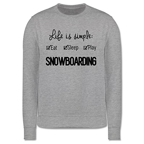 Wintersport - Life is simple Snowboarding - Herren Premium Pullover Grau Meliert