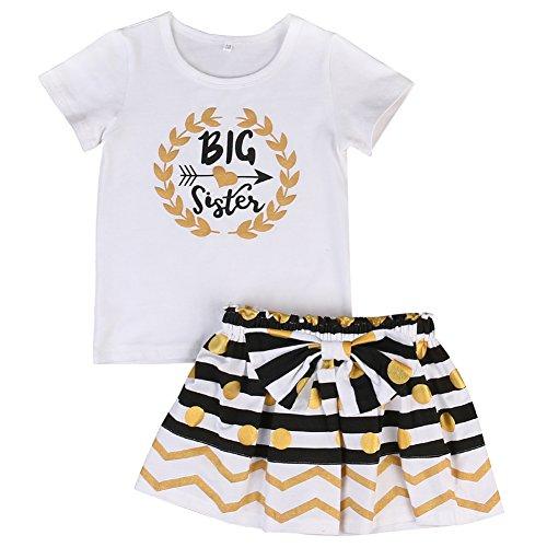 Kleine große Schwester Anzug Set, Spielanzug T-Shirt Polka Dot Rock Kleid Outfits Set für Baby Mädchen (3-4 Jahr, Großes Schwesterhemd)