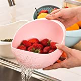 Prosmart Plastic Big Size Rice Pulses Fruits Vegetable Noodles Pasta Washing Bowl and Strainer (Pink, 24 x 21.5 x 12.5 cm)