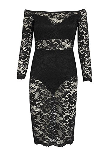 Damen Semi -Spitze Bardot Kleid EUR Größe Gefüttert 36-42 Schwarz