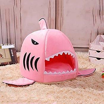 Home Holic Coussins pour Chien Coussins Chats Panier Chien Matelas pour Animaux Mignon Requin Bouche Teddy Pet Chien Chat Chambre Maison Chiot Chaud Coussin Kennel (M, Rose)
