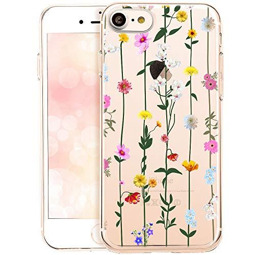 OOH!COLOR Collection 2019 Handyhülle kompatibel mit iPhone 7 iPhone 8 Hülle transparent Silikon Bumper dünn Schutzhülle durchsichtig mit Motiv Blumen-Liane (EINWEG)