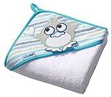 Baby Badehandtuch mit Kapuze FROTTEE / Kinder Kapuzenhandtuch 100x100cm 7316 (Weiß / Pinguin)