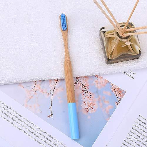 Farbpinsel runder Griff Bambuszahnbürste Bambusgriff Bambuskohlebürste Holzzahnbürste Erwachsener Absatz Himmelblau 5 Zahnbürste