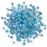 Buttons Galore Sparkletz Ocean Waves - Gemas acrílicas Transparentes, Lentejuelas, Perlas de Fondo Plano - 3 Paquetes de 36 Gramos