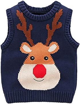 JiAmy Baby Weihnachtspullover Kinder Strickweste Ärmellos Pullover Baumwolle Hirsch Sweatshirt