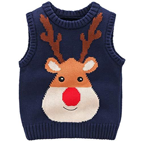 JiAmy Kinder Weihnachtspullover Strickweste Ärmellos Pullover Baumwolle Hirsch Sweatshirt Blau 2-3 Jahre