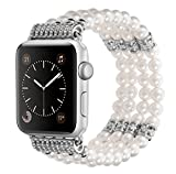 Kaing Compatible Bands Apple Watch Band 38 mm/42 mm iWatch Band Femme Tendance Fausse Perle Bracelet en Perles pour Apple Montre Série 4 Série 3 Série 2 Série 1 Version