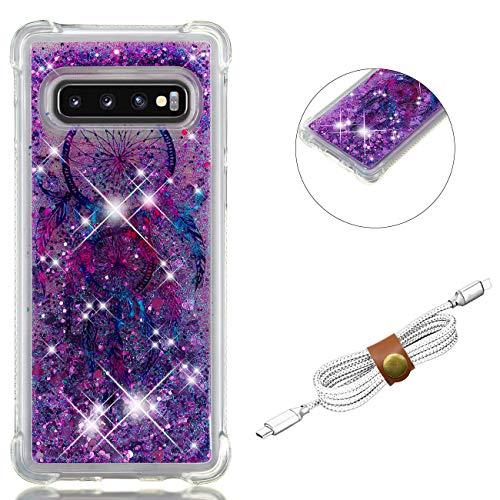 QY Mart Purpurina Funda Compatible Samsung Galaxy S10 Brillante Arena Movediza Líquido Transparente Gel TPU Bumper Suave Silicona Carcasa con Auriculares Organizador - Atrapasueños