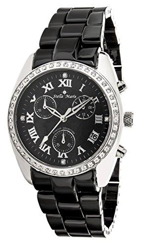 Stella Maris Women's Quartz Watch with Black Dial Analogue Display and Black Ceramic Bracelet ST5597