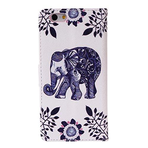 iPhone 6S Coque Cuir, Aeeque Bookstyle Ultra-mince Papillon Coloré Désign Fermeture Magnétique Étui en cuir PU de première qualité Coverture avec La Fonction Stand pour iPhone 6 / 6S 4.7 pouce Elephant Roi