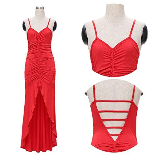 M-Queen Elégant Femme Sans Manches Strappy Maxi Longue Robe Pour Cocktail Party Mariage Soirée Rouge