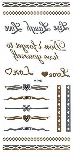 Tatuaggi removibili, con gioielli oro e argento, anelli, scritta