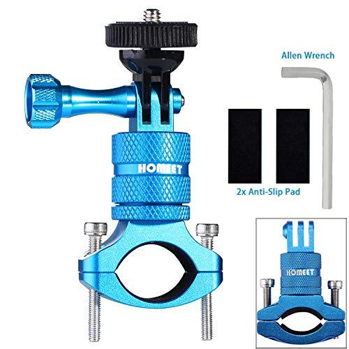 Homeet Fahrrad Halterung Actioncam Fahrradhalterung Aluminum Alloy Kamerahalter mit 1/4 Zoll Adapter für GoPro SJCAM Garmin Virb XE DBPOWER für 20mm-35mm Fahrrad Lenker Halterung (Blau)
