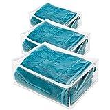 3 x de almacenamiento para guardar bajo la cama - transparente con ribete blanco - L61xW38xH30cm - ideal para fuera de temporada de almacenamiento de mantas, ropa o sábanas