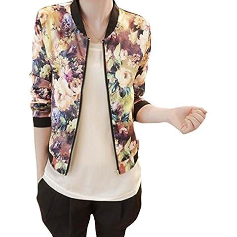 Fortan Collar del soporte impreso floral Bombardero chaqueta de las mujeres