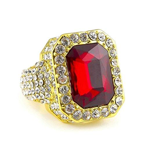 KnSam Herren-Ring 18K Gold Vergoldet Eheringe Quadrat Trauringe Rot Zirkonia Straß für Männer Gold Größe 62 (19.7)