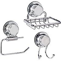 Tatkraft Vacuum Screw HARD Trio accessori da bagno, porta carta igienica/porta sapone/doppio gancio Vasca da bagno di acciaio Inossidabile aspirazione napfen