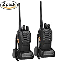 Ansoko PMR446 2pcs Walkie Talkies Rechargeable Long Range Two Way Radio with 16-Channel License Free LED Light Radio Transceiver for Field Survival Biking and Hiking