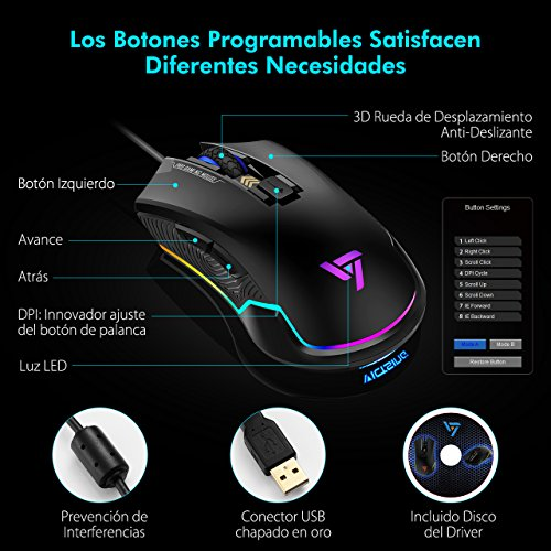 VicTsing Ratón Gaming Programable RGB Retroiluminación Adjustable  6 Botones y 6 DPI Nivel  Sensor Óptico  DPI 7250 Máximo  Erogonómico Professional Ratón Gaming con Cable para PC  Ordenador  Portátil  Computadora   Negro