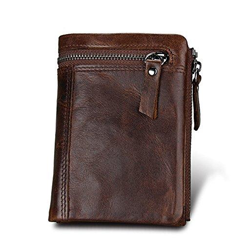 Herren Leder Brieftasche Retro Kreditkarten-Pack Doppel-Reißverschluss-Tasche Brieftasche ID/Foto Fenster 6 Karten Slot Cash Bag Coin Bag (Leder-foto-speicher-box)