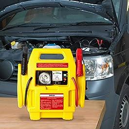 Avviatore di Emergenza Jump Starter Caricabatterie Auto con Morsetti 12V 300 Amp PSI Compressore Aria e Luce Batteria…