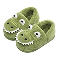 Haizhe Winter Slippers Kids Plush Warm Indoor Shoes Toddler Girls Comfort Bedroom Slippers Boys Anti-Slip House Shoes Outdoor