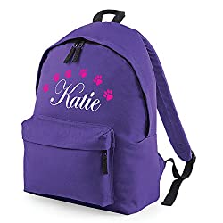 iClobber Dog Paw Print Rucksack Fashion Backpack Personalised with your name or club