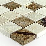 Naturstein Marmor Mosaik Fliesen Braun Beige Poliert