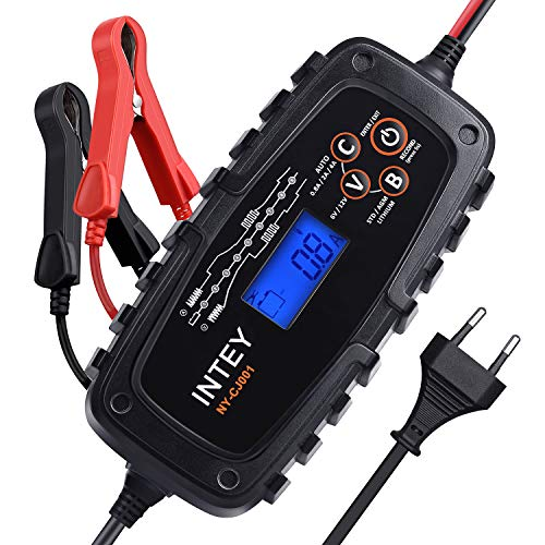 INTEY Cargador de batería, Cargador baterías Coche, Inteligente y Automático 6/12V y...