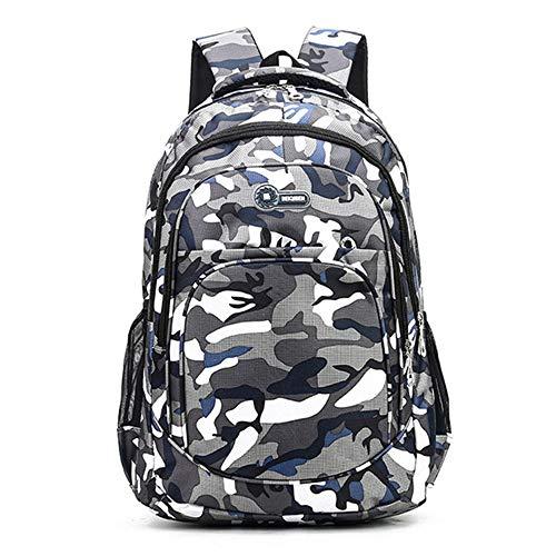 JWDP 2 Größen Camouflage wasserdichte Schultaschen für Mädchen Jungen Kinder Rucksack Schultasche Weiß Blau 30 * 14 * 45 cm