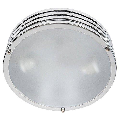 Bakaji lampada da soffitto o parete plafoniera tonda in metallo cromato e vetro satinato stile moderno classe a++ dimensione 30x30x8 cm
