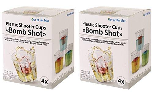 Bada Bing 8er Set Bomb Shot Jagerbomb Plastik Cup Schnapsgläser Pinnchen