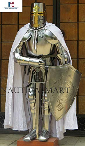 NAUTICALMART Tempelritter-Anzug von Rüstung Kreuzritter-Rüstung, Renaissance-Rüstung, Custom Halloween-Umhang, Schild, Kettenpost