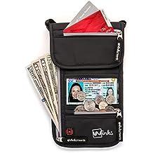 Bolso de viaje para el cuello Winks porta pasaportes de viaje con bloqueo de RFID - Organizador con 7 bolsillos