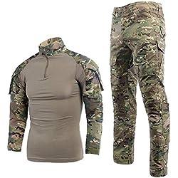 Ripstop Uniforme militaire pour homme avec chemise et pantalon à manches longues - - L